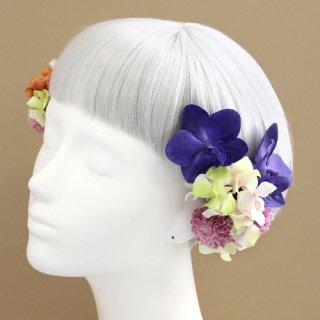 アーティフィシャルフラワー(造花)の姫胡蝶蘭の髪飾り(紫)画像_airaka