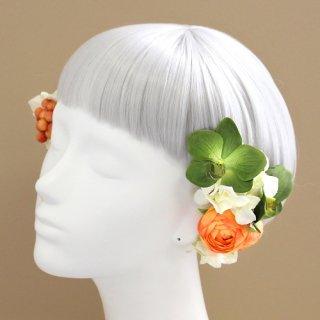 アーティフィシャルフラワー(造花)の姫胡蝶蘭の髪飾り(緑)画像_airaka