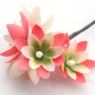 アーティフィシャルフラワー(造花)のフリルレンジアの髪飾り(コーラルピンク)画像_airaka