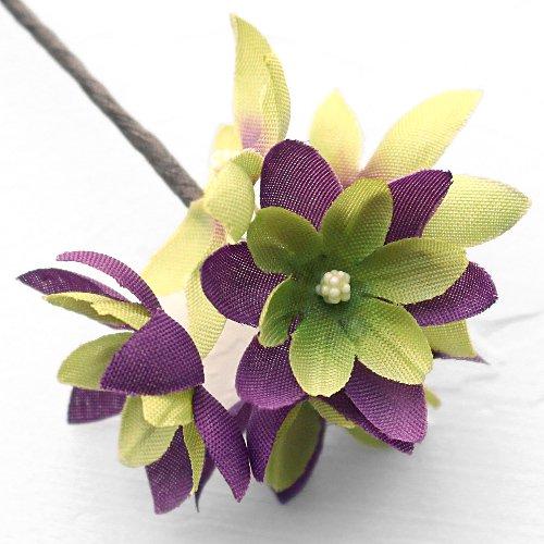 アーティフィシャルフラワー(造花)のフリルレンジアの髪飾り(紫)画像_airaka