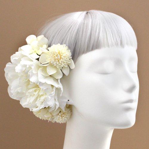 アーティフィシャルフラワー(造花)の白小菊と芍薬の髪飾り画像_airaka
