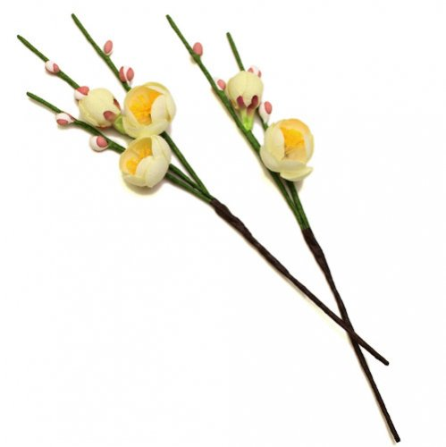 アーティフィシャルフラワー(造花)の白梅の髪飾り画像_airaka