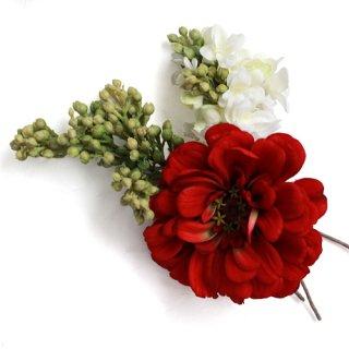 アーティフィシャルフラワー(造花)のジニアとライラックの髪飾り画像_airaka