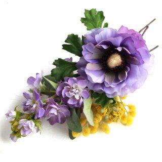 アーティフィシャルフラワー(造花)のアネモネとミモザの髪飾り画像_airaka