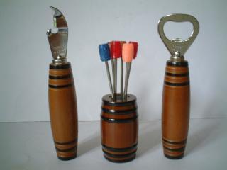 樽型フルーツピックと栓抜き・缶切りセット