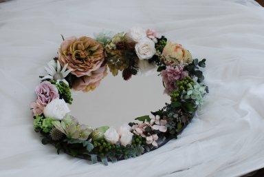 母の日のプレゼントにも ♡ Flower mirror  グリーン&スモーキーピンク