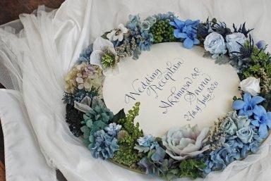 母の日のプレゼントにも ♡ Flower mirror ブルー