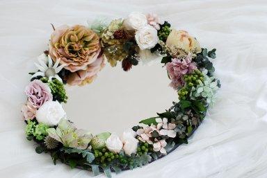 Flower mirror  グリーン&スモーキーピンク