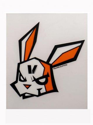 v Bunny sticker (die cut)  Black x Orange