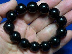 黒水晶(モリオン)ブレスレット16mm玉×13個−5