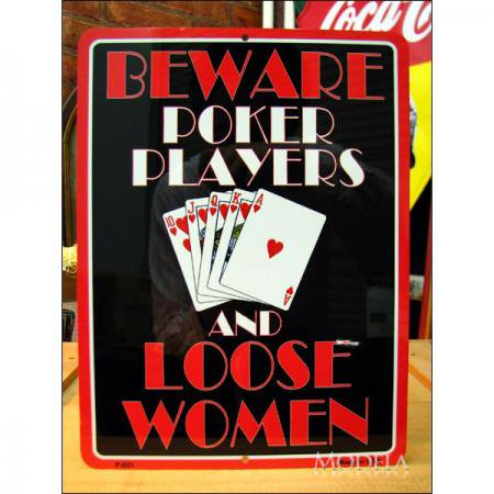アメリカンブリキ看板 カードプレイヤー・緩い女に用心