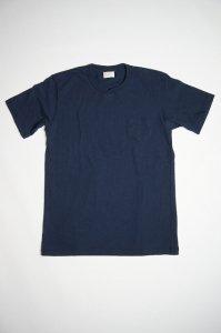 ムラ糸吊り編み天竺オーバーラップクルーネックポケットTシャツ(クラッシクネイビー)