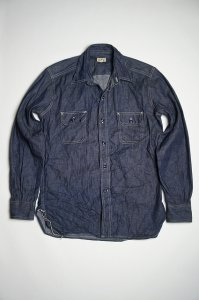WORK SHIRT WITH ELBOW PATCH(INDIGO)