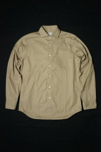 Wide Spread Shirt, Brushed Twill, Beige