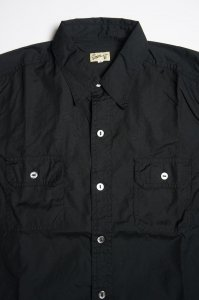 WORK SHIRT WITH ELBOW PATCH, SEA ISLAND COTTON BROAD, BLACK