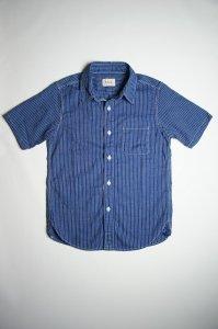 半袖ストライプワークシャツ(ダークインディゴ)