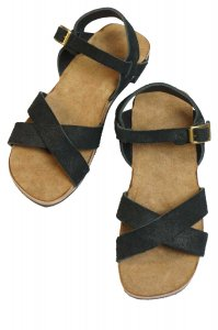 Cross Sandal(Black Roughout)