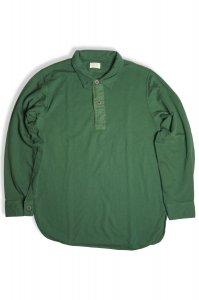 フェルガナハイゲージインレイプルオーバーシャツ レギュラーカラー(オリーブグリーン)