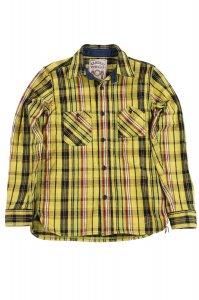 SIN18-01 ロープインディゴヘビィーネルワークシャツ イエロー