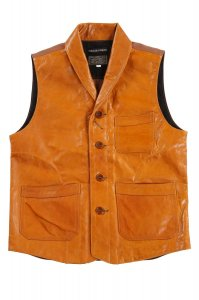 Lyser Spring Leather Vest Camel