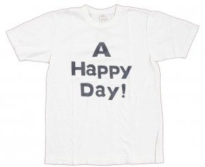 A HAPPY DAY ! Tシャツ ホワイト/ネイビー<img class='new_mark_img2' src='https://img.shop-pro.jp/img/new/icons9.gif' style='border:none;display:inline;margin:0px;padding:0px;width:auto;' />
