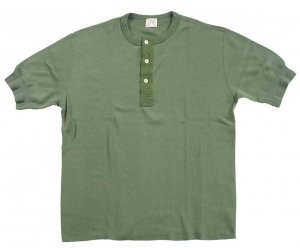 LRH1026 LIGHT WEIGHT HONEYCOMB THERMAL 60s S/S HENLEY LIGHT OLIVE