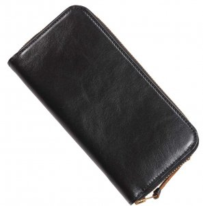 INCEPTION HORSEHIDE ROUND LONG WALLET BLACK