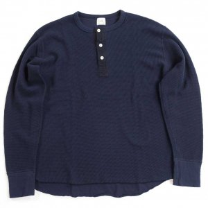 LRH1027 DOUBLE FACE WIRE MESH THERMAL HENLEY DEEP NAVY