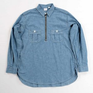 Zip Work Shirt, Blue Chambray<img class='new_mark_img2' src='https://img.shop-pro.jp/img/new/icons9.gif' style='border:none;display:inline;margin:0px;padding:0px;width:auto;' />