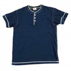 SJIT-101M インディゴヘンリーネックTシャツ