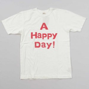A HAPPY DAY !  Tシャツ ホワイト/レッド<img class='new_mark_img2' src='https://img.shop-pro.jp/img/new/icons9.gif' style='border:none;display:inline;margin:0px;padding:0px;width:auto;' />
