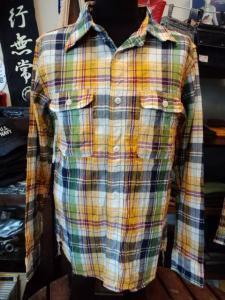 501001 追撚チェックシャツ L/S (ネイビー)