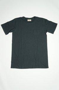 LRC1014 ムラ糸吊り編み天竺クラシックリブポケットTシャツ(アンティークブラック)