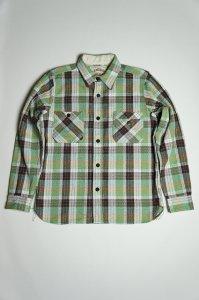 SNL15-01 撚り杢ヘビーネルシャツ(グリーン)