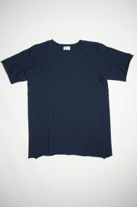 ムラ糸吊り編み天竺半袖カットオフTシャツ(クラシックネイビー)