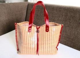 ボヘミア風 編み革トート(赤)