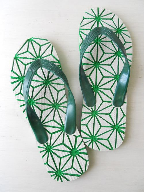JUNNO slippers 麻柄緑|南国島草履<img class='new_mark_img2' src='//img.shop-pro.jp/img/new/icons48.gif' style='border:none;display:inline;margin:0px;padding:0px;width:auto;' />