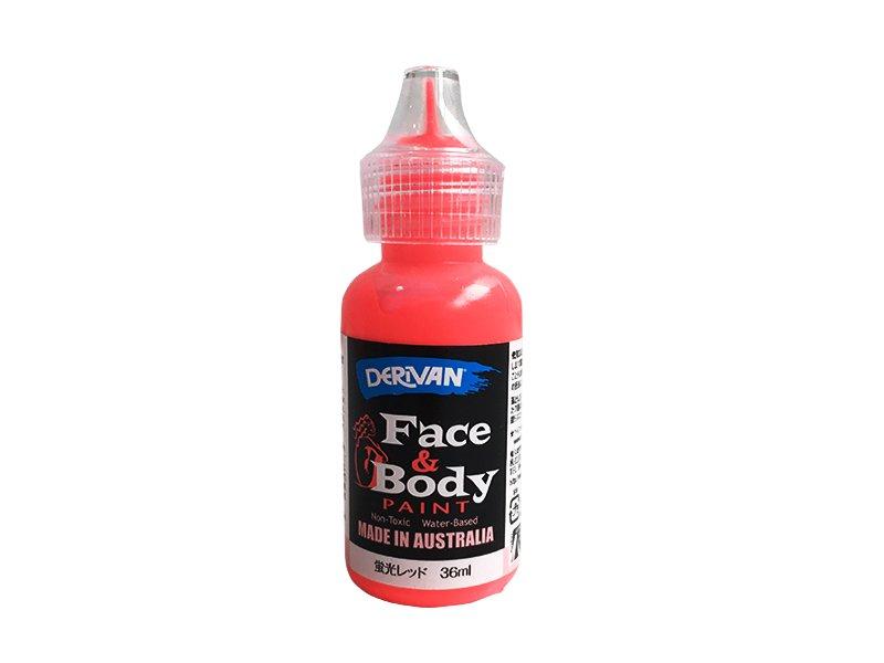デリバン フェイス&ボディペイント 蛍光レッド ボトル入りペンタイプ 36ml×1個(ブラックライト対応)
