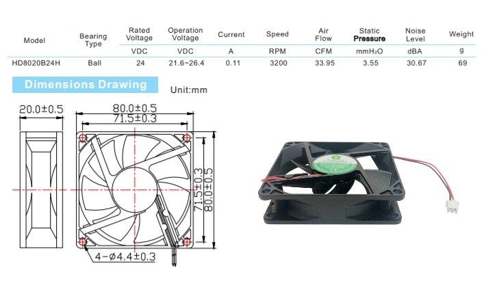 DC FAN 24V用■ 冷却ファン ■型番:HD8020B24H
