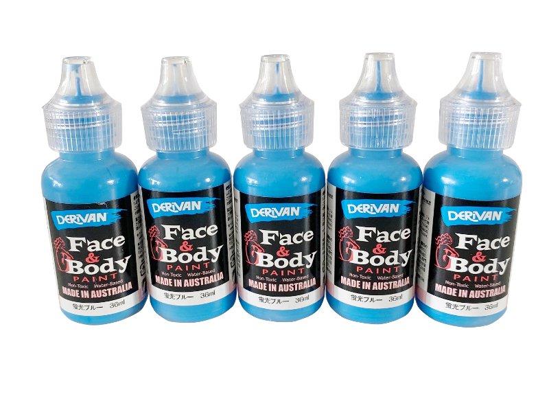 ■5本セット■デリバン フェイス&ボディペイント 蛍光ブルー ボトル入りペンタイプ 36ml×5個(ブラックライト対応)
