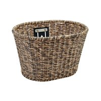 ELECTRA PLASTIC WOVEN BASKET LIGHT BROWN/BLACK