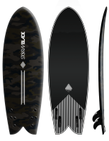 STORM BLADE SURFBOARDS -5ft8 MODERN RETRO FISH DARK CAMO