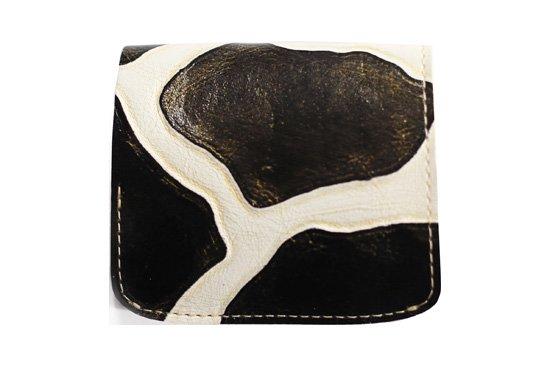 小さい財布 小さいふ。イタリアンレザー+アートシリーズ「コンチャ ジラフブラック」黒×白