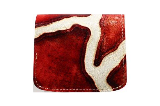 小さい財布 小さいふ。イタリアンレザー+アートシリーズ「コンチャ ジラフレッド」赤×白