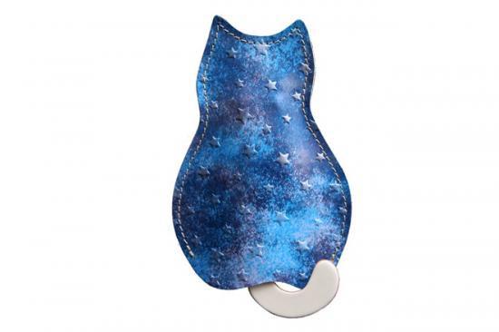【猫グッズ】猫のうしろすがたをしたキーケース 星に願いを 〜夜空〜