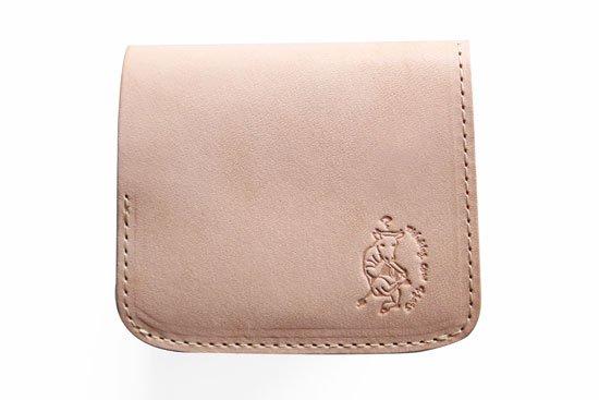 小さい財布 小さいふ。栃木レザー素-su-シリーズ「コンチャ 考える牛ロゴ」素上げヌメ革