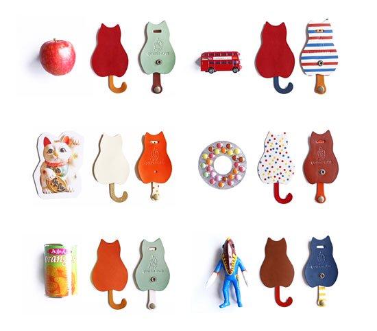 カラーオーダーシリーズ「猫のうしろすがたをしたキーケース」栃木レザー 猫グッズ