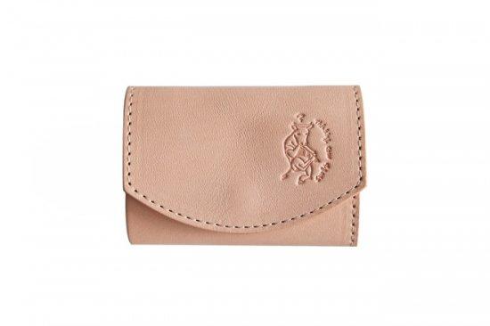 小さい財布 小さいふ。栃木レザー素-su-シリーズ「ポキート 考える牛ロゴ」素上げヌメ革