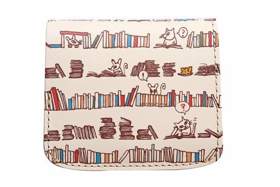 小さい財布 小さいふ。アートシリーズ「コンチャ クロとロクと本屋さん ホワイト」白