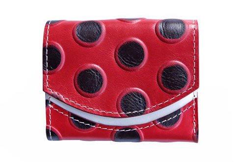 小さい財布 小さいふ。イタリアンレザー+アートシリーズ「ペケーニョ あかてんとう虫」赤×黒